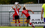 SOUTHAMPTON, ENGLAND - OCTOBER 11: Shelly Provan (L) of Southampton during FAWNL match between Southampton Women and Exeter City at Snows Stadium on October 11, 2020 in Southampton, England. (Photo by Isabelle Field/Southampton FC via Getty Images)