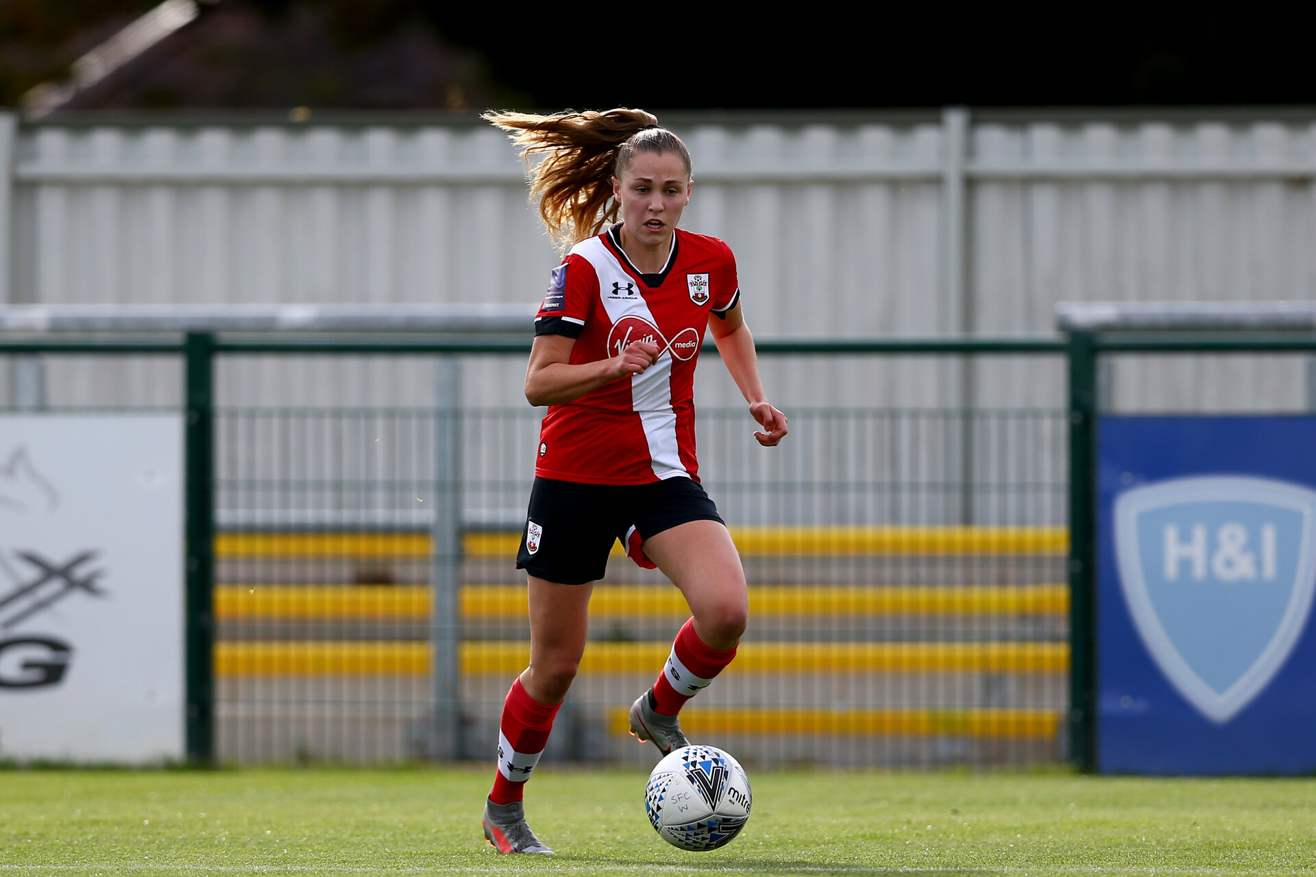 SOUTHAMPTON, ENGLAND - OCTOBER 11: Alisha Ware of Southampton during FAWNL match between Southampton Women and Exeter City at Snows Stadium on October 11, 2020 in Southampton, England. (Photo by Isabelle Field/Southampton FC via Getty Images)