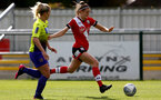 SOUTHAMPTON, ENGLAND - OCTOBER 11: Ella Pusey (R) of Southampton during FAWNL match between Southampton Women and Exeter City at Snows Stadium on October 11, 2020 in Southampton, England. (Photo by Isabelle Field/Southampton FC via Getty Images)