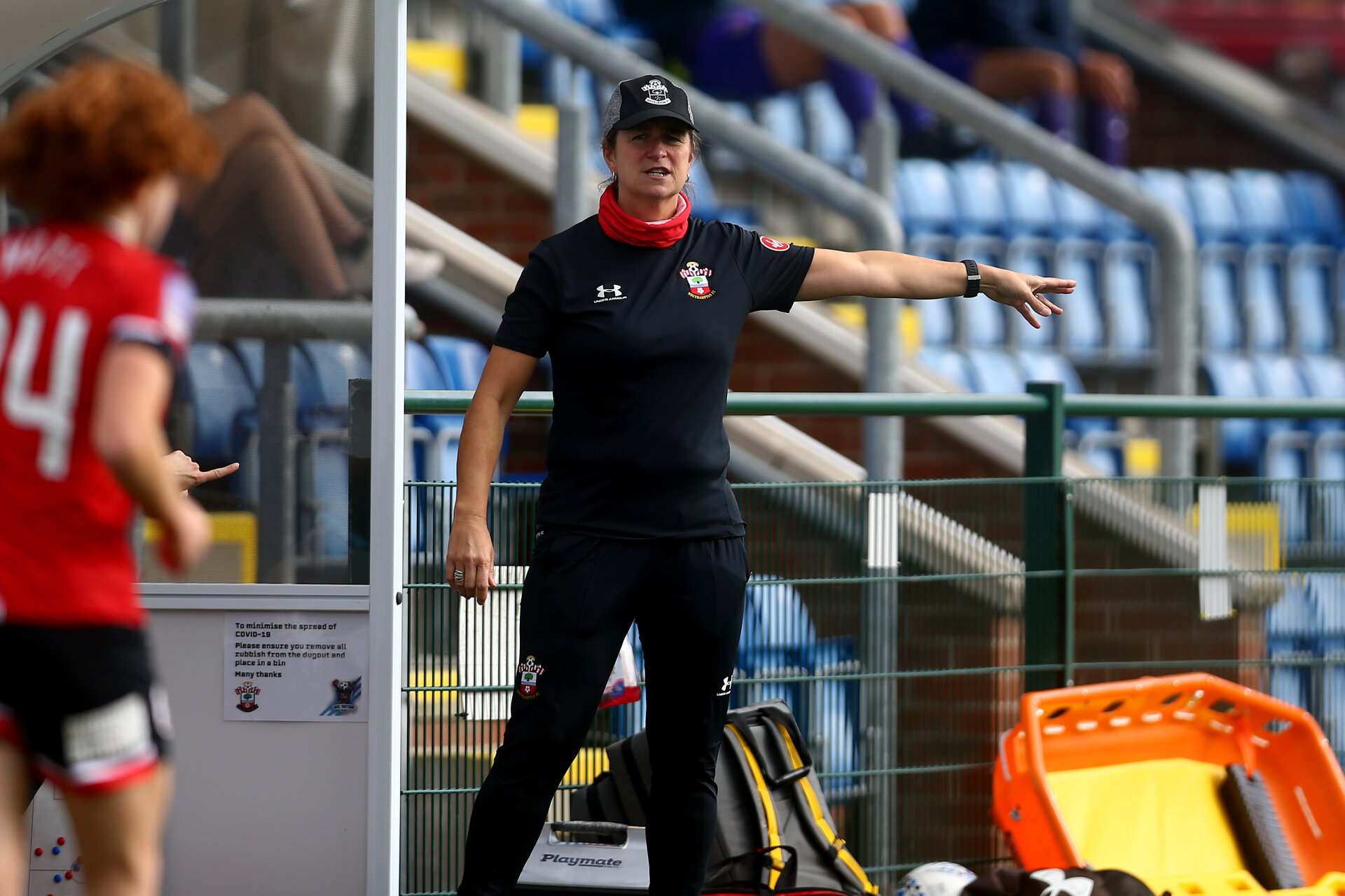 SOUTHAMPTON, ENGLAND - OCTOBER 11: Marieanne Spacey-Cale Southampton Women head coach during FAWNL match between Southampton Women and Exeter City at Snows Stadium on October 11, 2020 in Southampton, England. (Photo by Isabelle Field/Southampton FC via Getty Images)