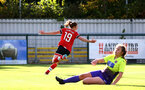 SOUTHAMPTON, ENGLAND - OCTOBER 11: Rachel Panting of Southampton goal celebration during FAWNL match between Southampton Women and Exeter City at Snows Stadium on October 11, 2020 in Southampton, England. (Photo by Isabelle Field/Southampton FC via Getty Images)