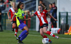 SOUTHAMPTON, ENGLAND - OCTOBER 11: Alisha Ware (R) of Southampton during FAWNL match between Southampton Women and Exeter City at Snows Stadium on October 11, 2020 in Southampton, England. (Photo by Isabelle Field/Southampton FC via Getty Images)