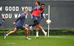SOUTHAMPTON, ENGLAND - OCTOBER 12: Oriol Romeu(L) and Kyle Walker-Peters during a Southampton FC training session at the Staplewood Campus on October 12, 2020 in Southampton, England. (Photo by Matt Watson/Southampton FC via Getty Images)