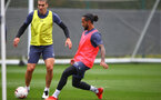 SOUTHAMPTON, ENGLAND - OCTOBER 12: Oriol Romeu(L) and   Theo Walcott during a Southampton FC training session at the Staplewood Campus on October 12, 2020 in Southampton, England. (Photo by Matt Watson/Southampton FC via Getty Images)