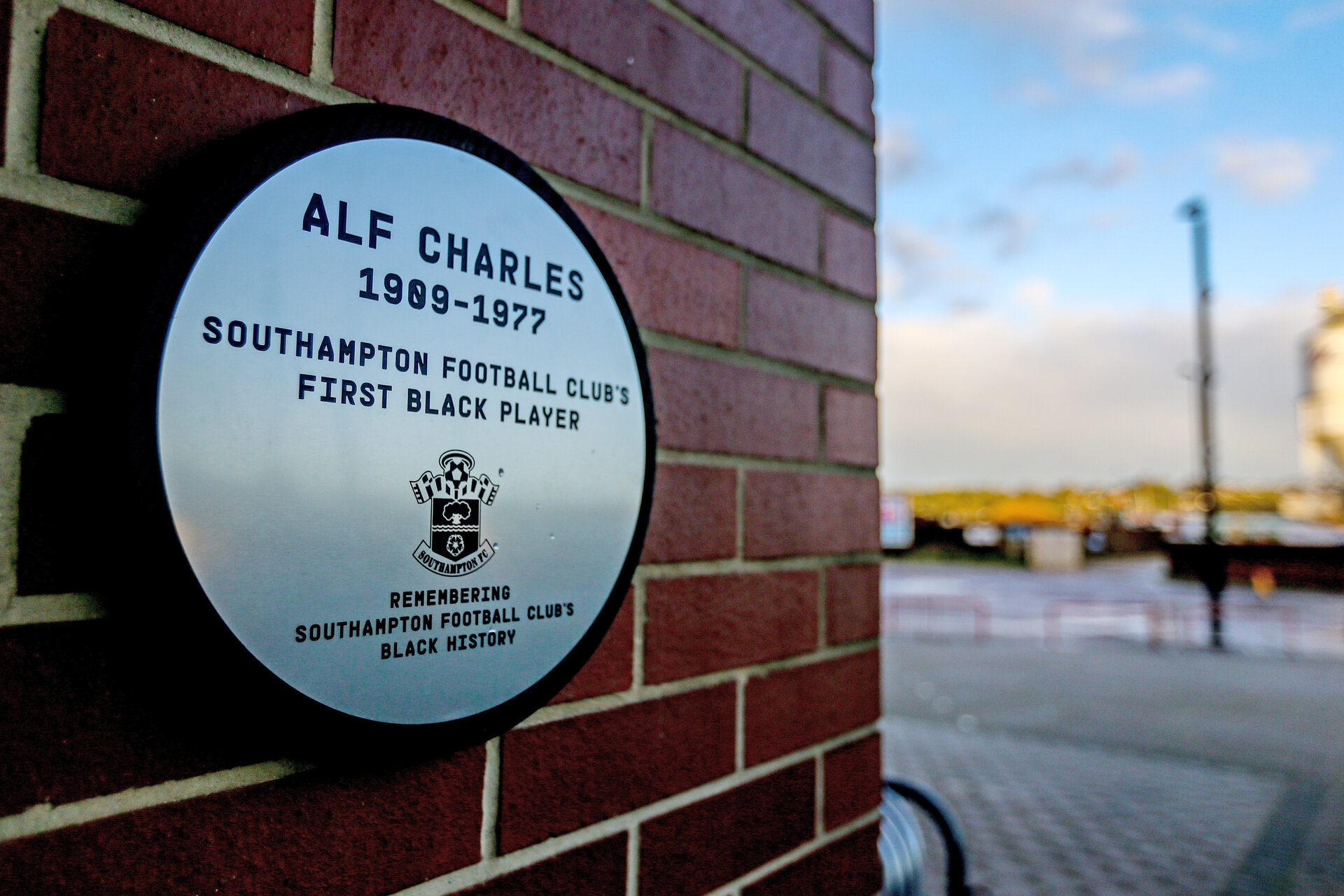 SOUTHAMPTON, ENGLAND, OCTOBER 27, A plaque is installed at Southampton FC's St Mary's stadium, in memory of Alf Charles, Southampton's first black player and to recognise the club's black history, in Southampton on October 27th 2020, pic by Matt Watson/Southampton FC