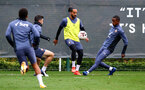 SOUTHAMPTON, ENGLAND - OCTOBER 28: Theo Walcott(middle) during a Southampton FC training session at the Staplewood Campus on October 28, 2020 in Southampton, England. (Photo by Matt Watson/Southampton FC via Getty Images)