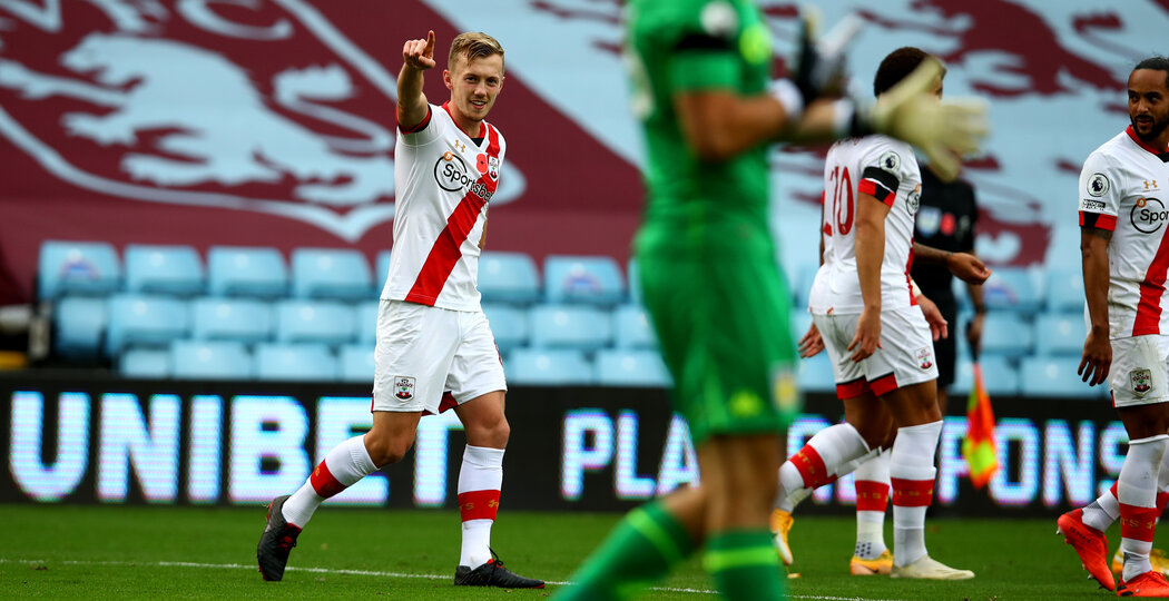 BIRMINGHAM, ENGLAND - NOVEMBER 01: James Ward-Prowse of Southampton celebrates after scoring a free kick to make it 2-0 during the Premier League match between Aston Villa and Southampton at Villa Park on November 01, 2020 in Birmingham, England. Sporting stadiums around the UK remain under strict restrictions due to the Coronavirus Pandemic as Government social distancing laws prohibit fans inside venues resulting in games being played behind closed doors. (Photo by Matt Watson/Southampton FC via Getty Images)