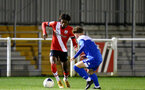 SOUTHAMPTON, ENGLAND - NOVEMBER 02: Ramello Mitchell (L) of Southampton during the Hampshire FA Senior Cup semi-final between Eastleigh FC and Southampton FC B Team at Silverlake Stadium on November 02, 2020 in Southampton, England. (Photo by Isabelle Field/Southampton FC via Getty Images) (Photo by Isabelle Field/Isabelle Field)