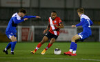 SOUTHAMPTON, ENGLAND - NOVEMBER 02: Tyreke Johnson(center) of Southampton during the Hampshire FA Senior Cup semi-final between Eastleigh FC and Southampton FC B Team at Silverlake Stadium on November 02, 2020 in Southampton, England. (Photo by Isabelle Field/Southampton FC via Getty Images) (Photo by Isabelle Field/Isabelle Field)