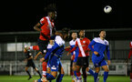 SOUTHAMPTON, ENGLAND - NOVEMBER 02: Allan Tchaptchet(L) of Southampton in the air during the Hampshire FA Senior Cup semi-final between Eastleigh FC and Southampton FC B Team at Silverlake Stadium on November 02, 2020 in Southampton, England. (Photo by Isabelle Field/Southampton FC via Getty Images) (Photo by Isabelle Field/Isabelle Field)