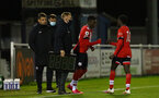 SOUTHAMPTON, ENGLAND - NOVEMBER 02: Kazeem Olaigbe(L) of Southampton comes on for Lucas Defise(R) of Southampton during the Hampshire FA Senior Cup semi-final between Eastleigh FC and Southampton FC B Team at Silverlake Stadium on November 02, 2020 in Southampton, England. (Photo by Isabelle Field/Southampton FC via Getty Images) (Photo by Isabelle Field/Isabelle Field)