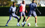 SOUTHAMPTON, ENGLAND - NOVEMBER 04: Moussa Djenepo(centre) during a Southampton FC training session, at the Staplewood Campus, on November 04, 2020 in Southampton, England. (Photo by Matt Watson/Southampton FC via Getty Images)