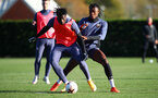 SOUTHAMPTON, ENGLAND - NOVEMBER 04: Mohammed Salisu(L) and Dan N'Lundulu during a Southampton FC training session, at the Staplewood Campus, on November 04, 2020 in Southampton, England. (Photo by Matt Watson/Southampton FC via Getty Images)
