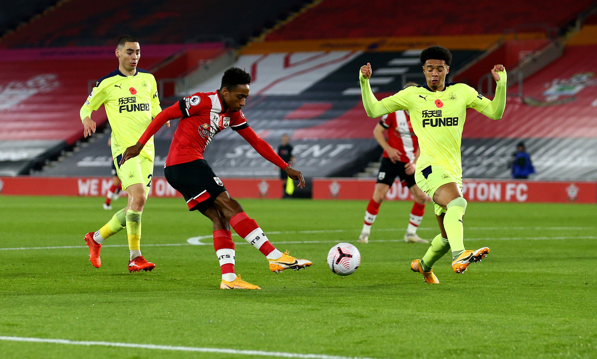 SOUTHAMPTON, ENGLAND - NOVEMBER 06: Kyle Walker-Peters of Southampton shoots at goal during the Premier League match between Southampton and Newcastle United at St Mary's Stadium on November 06, 2020 in Southampton, England. Sporting stadiums around the UK remain under strict restrictions due to the Coronavirus Pandemic as Government social distancing laws prohibit fans inside venues resulting in games being played behind closed doors. (Photo by Matt Watson/Southampton FC via Getty Images)