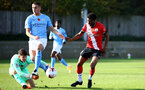 SOUTHAMPTON, ENGLAND - NOVEMBER 07: Nathan Tella(R) of Southampton shot blocked by Cieran Slicker(L) of Manchester City during the Premier League 2 match between Southampton FC B Team and Manchester City at Staplewood Training Ground on November 07, 2020 in Southampton, England. (Photo by Isabelle Field/Southampton FC via Getty Images) (Photo by Isabelle Field/Isabelle Field)