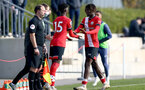 SOUTHAMPTON, ENGLAND - NOVEMBER 07: Kgaogelo Chauke(L) of Southampton coming on for Alex Janekewitz(R) of Southampton during the Premier League 2 match between Southampton FC B Team and Manchester City at Staplewood Training Ground on November 07, 2020 in Southampton, England. (Photo by Isabelle Field/Southampton FC via Getty Images) (Photo by Isabelle Field/Isabelle Field)