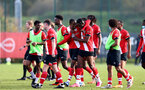 SOUTHAMPTON, ENGLAND - NOVEMBER 07: Kayne Ramsay and Dan N'Lundulu of Southampton at the end of the Premier League 2 match between Southampton FC B Team and Manchester City at Staplewood Training Ground on November 07, 2020 in Southampton, England. (Photo by Isabelle Field/Southampton FC via Getty Images) (Photo by Isabelle Field/Isabelle Field)