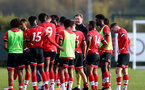 SOUTHAMPTON, ENGLAND - NOVEMBER 07: Ralph Hasenhuttl Southampton manager congratulating the B Team players at the end of the Premier League 2 match between Southampton FC B Team and Manchester City at Staplewood Training Ground on November 07, 2020 in Southampton, England. (Photo by Isabelle Field/Southampton FC via Getty Images) (Photo by Isabelle Field/Isabelle Field)