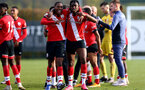 SOUTHAMPTON, ENGLAND - NOVEMBER 07: Kayne Ramsay(L) and Dan N'Lundulu(R) of Southampton at the end of the Premier League 2 match between Southampton FC B Team and Manchester City at Staplewood Training Ground on November 07, 2020 in Southampton, England. (Photo by Isabelle Field/Southampton FC via Getty Images) (Photo by Isabelle Field/Isabelle Field)