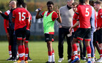 SOUTHAMPTON, ENGLAND - NOVEMBER 07: Nathan Tella (center) of Southampton at the end of the Premier League 2 match between Southampton FC B Team and Manchester City at Staplewood Training Ground on November 07, 2020 in Southampton, England. (Photo by Isabelle Field/Southampton FC via Getty Images) (Photo by Isabelle Field/Isabelle Field)