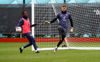 SOUTHAMPTON, ENGLAND - NOVEMBER 11: Dan N'Lundulu(L) and Fraser Forster during a Southampton FC training session at the Staplewood Campus on November 11, 2020 in Southampton, England. (Photo by Matt Watson/Southampton FC via Getty Images)