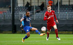 LIVERPOOL, ENGLAND - NOVEMBER 21: Tyreke Johnson(L) of Southampton and Sepp Van Den Berg (R) of Liverpool during the Premier League 2 match between Liverpool and Southampton FC B Team at the Liverpool Academy on November 21, 2020 in Liverpool , England. (Photo by Isabelle Field/Southampton FC via Getty Images) (Photo by Isabelle Field/Isabelle Field)