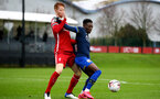 LIVERPOOL, ENGLAND - NOVEMBER 21: Sepp Van Den Berg (L) of Liverpool and Kazeem Olaigbe(R) of Southampton during the Premier League 2 match between Liverpool and Southampton FC B Team at the Liverpool Academy on November 21, 2020 in Liverpool , England. (Photo by Isabelle Field/Southampton FC via Getty Images) (Photo by Isabelle Field/Isabelle Field)