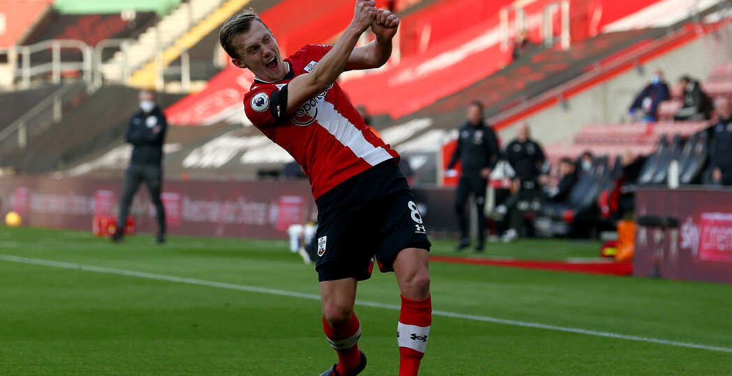 SOUTHAMPTON, ENGLAND - NOVEMBER 29: James Ward-Prowse of Southampton goal celebration during the Premier League match between Southampton and Manchester United at St Mary's Stadium on November 29, 2020 in Southampton, England. Sporting stadiums around the UK remain under strict restrictions due to the Coronavirus Pandemic as Government social distancing laws prohibit fans inside venues resulting in games being played behind closed doors. (Photo by Matt Watson/Southampton FC via Getty Images)