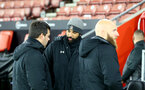 SOUTHAMPTON, ENGLAND - NOVEMBER 30: Carl Martin (centre) Southampton B Team coach during the Premier League 2 match between Southampton FC B Team and Brighton & Hove Albion at the St Mary's Stadium on November 30, 2020 in Southampton, England. (Photo by Isabelle Field/Southampton FC via Getty Images)