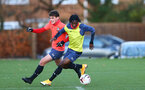 SOUTHAMPTON, ENGLAND - DECEMBER 03 : Luke Pearce(L) and Zuriel Otseh-Taiwot during Southampton U18s training session at Staplewood Complex on December 03, 2020 in Southampton, England. (Photo by Isabelle Field/Southampton FC via Getty Images)