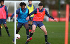 SOUTHAMPTON, ENGLAND - DECEMBER 03 : Ramello Mitchell(L) and Will Tizzard (R) during Southampton U18s training session at Staplewood Complex on December 03, 2020 in Southampton, England. (Photo by Isabelle Field/Southampton FC via Getty Images)