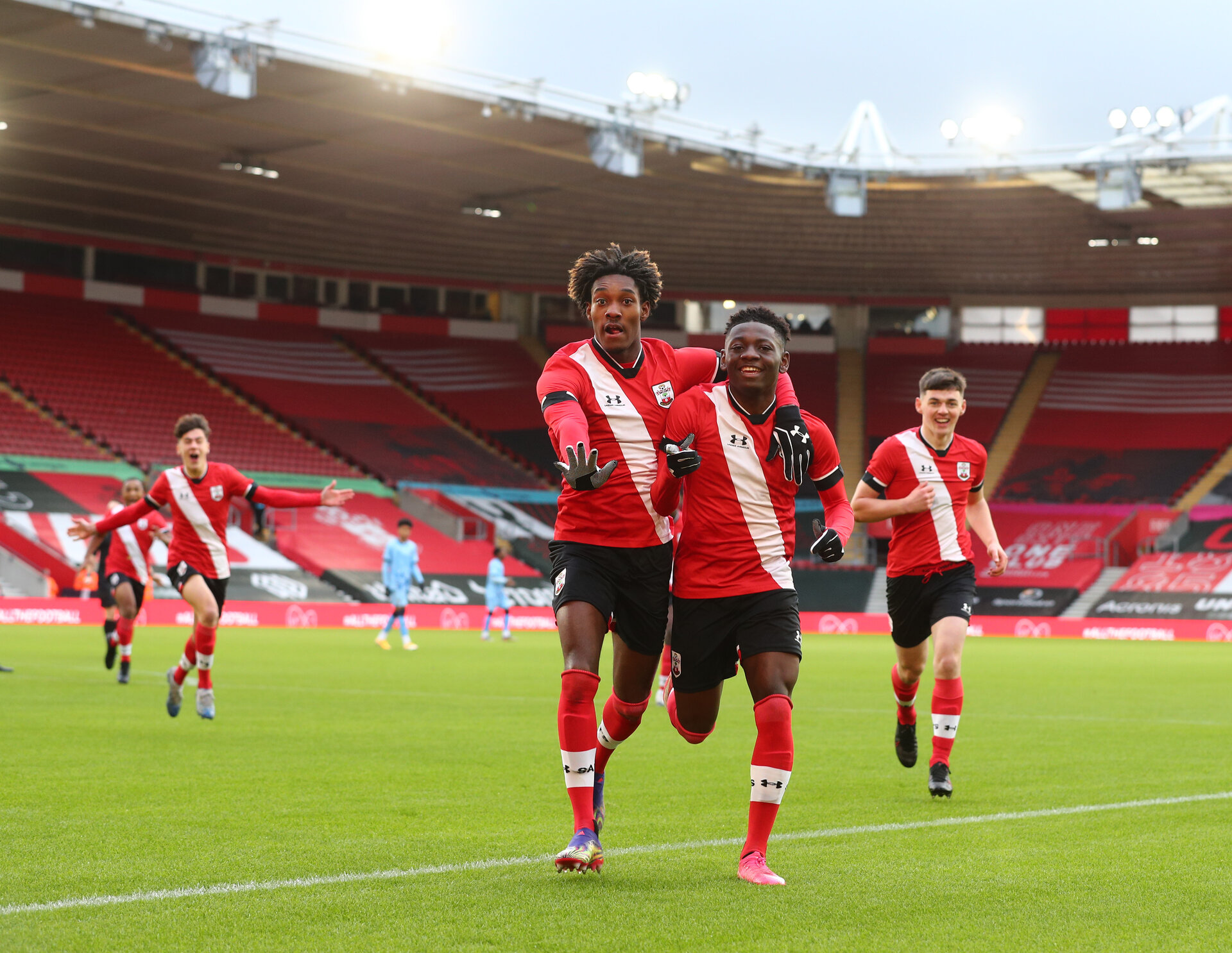 Southampton v Coventry City FA Youth cup at St Mary's Stadium. Southampton's Kazeem Olaigbe scores Saints first goal.