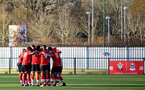 SOUTHAMPTON, ENGLAND - DECEMBER 12: Southampton players ahead of the Premier League 2 match between Southampton B Team and Leicester City at Snows Stadium on December 12, 2020 in Southampton, England. (Photo by Isabelle Field/Southampton FC via Getty Images)