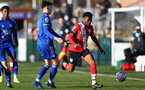 SOUTHAMPTON, ENGLAND - DECEMBER 12: Nathan Tella of Southampton during the Premier League 2 match between Southampton B Team and Leicester City at Snows Stadium on December 12, 2020 in Southampton, England. (Photo by Isabelle Field/Southampton FC via Getty Images)