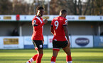 SOUTHAMPTON, ENGLAND - DECEMBER 12: Nathan Tella of Southampton goal celebration during the Premier League 2 match between Southampton B Team and Leicester City at Snows Stadium on December 12, 2020 in Southampton, England. (Photo by Isabelle Field/Southampton FC via Getty Images)