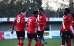 SOUTHAMPTON, ENGLAND - DECEMBER 12: Kayne Ramsay of Southampton congratulates Nathan Tella on scoring during the Premier League 2 match between Southampton B Team and Leicester City at Snows Stadium on December 12, 2020 in Southampton, England. (Photo by Isabelle Field/Southampton FC via Getty Images)