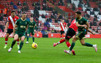 SOUTHAMPTON, ENGLAND - DECEMBER 13: Nathan Redmond(obscure) of Southampton scores his teams third goal during the Premier League match between Southampton and Sheffield United at St Mary's Stadium on December 13, 2020 in Southampton, England. A limited number of spectators (2000) are welcomed back to stadiums to watch elite football across England. This was following easing of restrictions on spectators in tiers one and two areas only. (Photo by Matt Watson/Southampton FC via Getty Images)
