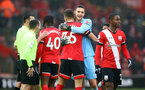 SOUTHAMPTON, ENGLAND - DECEMBER 13: Alex McCarthy(R) of Southampton embraces team mate Jan Bednarek during the Premier League match between Southampton and Sheffield United at St Mary's Stadium on December 13, 2020 in Southampton, England. A limited number of spectators (2000) are welcomed back to stadiums to watch elite football across England. This was following easing of restrictions on spectators in tiers one and two areas only. (Photo by Matt Watson/Southampton FC via Getty Images)