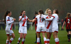 WIMBORNE, ENGLAND - DECEMBER 13:  Lucia Kendall of Southampton celebrates scoring with her team mates during The Vitality Women's FA Cup, first-round proper match between AFC Bournemouth and Southampton FC Women's at Verwood FC on December 13, 2020 in, Wimborne, England. (Photo by Isabelle Field/Southampton FC via Getty Images)
