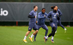 SOUTHAMPTON, ENGLAND - DECEMBER 28: L t R Danny Ings, Ibrahima Diallo and Theo Walcott during a Southampton FC training session at the Staplewood Campus on December 28, 2020 in Southampton, England. (Photo by Matt Watson/Southampton FC via Getty Images)
