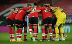 SOUTHAMPTON, ENGLAND - DECEMBER 29: Southampton players ahead of the Premier League match between Southampton and West Ham United at St Mary's Stadium on December 29, 2020 in Southampton, England. The match will be played without fans, behind closed doors as a Covid-19 precaution. (Photo by Matt Watson/Southampton FC via Getty Images)