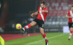 SOUTHAMPTON, ENGLAND - JANUARY 26: Jack Stephens of Southampton during the Premier League match between Southampton and Arsenal at St Mary's Stadium on January 26, 2021 in Southampton, England. Sporting stadiums around the UK remain under strict restrictions due to the Coronavirus Pandemic as Government social distancing laws prohibit fans inside venues resulting in games being played behind closed doors. (Photo by Chris Moorhouse/Southampton FC via Getty Images)