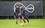 SOUTHAMPTON, ENGLAND - JANUARY 29: Jan Bednarek(L) and Moussa Djenepo during a Southampton FC training session at the Staplewood Campus on January 29, 2021 in Southampton, England. (Photo by Matt Watson/Southampton FC via Getty Images)
