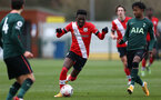 SOUTHAMPTON, ENGLAND - FEBRUARY 07: Kazeem Olaigbe of Southampton during the Premier League 2 match between  Southampton B Team and Tottenham Hotspur at Snows Stadium on February 07, 2021 in Southampton, England. (Photo by Isabelle Field/Southampton FC via Getty Images)
