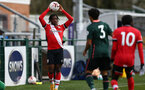 SOUTHAMPTON, ENGLAND - FEBRUARY 07: Zuriel Otseh-Taiwot (L) of Southampton during the Premier League 2 match between  Southampton B Team and Tottenham Hotspur at Snows Stadium on February 07, 2021 in Southampton, England. (Photo by Isabelle Field/Southampton FC via Getty Images)