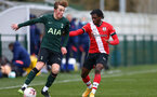 SOUTHAMPTON, ENGLAND - FEBRUARY 07: Zuriel Otseh-Taiwot (R) of Southampton during the Premier League 2 match between  Southampton B Team and Tottenham Hotspur at Snows Stadium on February 07, 2021 in Southampton, England. (Photo by Isabelle Field/Southampton FC via Getty Images)