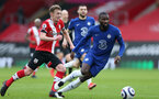 SOUTHAMPTON, ENGLAND - FEBRUARY 20: James Ward-Prowse (L) of Southampton during the Premier League match between Southampton and Chelsea at St Mary's Stadium on February 20, 2021 in Southampton, England. Sporting stadiums around the UK remain under strict restrictions due to the Coronavirus Pandemic as Government social distancing laws prohibit fans inside venues resulting in games being played behind closed doors. (Photo by Matt Watson/Southampton FC via Getty Images)