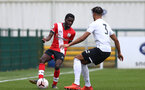 SOUTHAMPTON, ENGLAND - FEBRUARY 21: Lucas Defise (L) of Southampton during Premier League 2 match between Southampton B Team and Derby County U23s at The Snows Stadium on February 21, 2021 in Southampton, England. (Photo by Isabelle Field/Southampton FC via Getty Images)