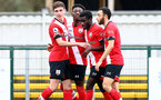 SOUTHAMPTON, ENGLAND - FEBRUARY 21: Kazeem Olaigbe celebrates opening the scoring with his team matesduring Premier League 2 match between Southampton B Team and Derby County U23s at The Snows Stadium on February 21, 2021 in Southampton, England. (Photo by Isabelle Field/Southampton FC via Getty Images)