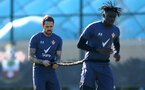 SOUTHAMPTON, ENGLAND - FEBRUARY 26: Danny Ings(L) and Mohammed Salisu during a Southampton FC training session at the Staplewood Campus on February 26, 2021 in Southampton, England. (Photo by Matt Watson/Southampton FC via Getty Images)